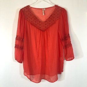 Grand And Greene Lace Overlay Sheer Blouse Size S